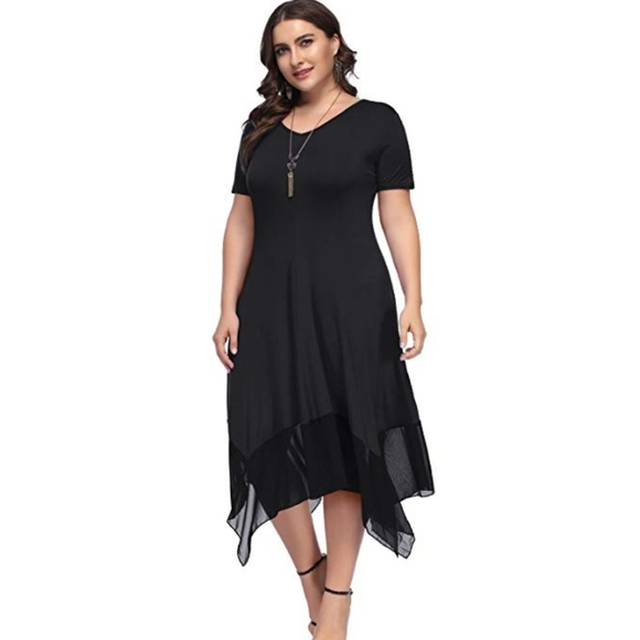 b71da6371ab07f Plus Size Short Sleeve Irregular Hem Loose Dress